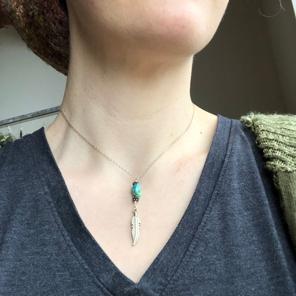 Turquoise Feather Necklace / Sterling Silver Chain / Feather Charm / Genuine Turquoise Nugget / Old Stock Turquoise / Vintage Clasp / Dainty
