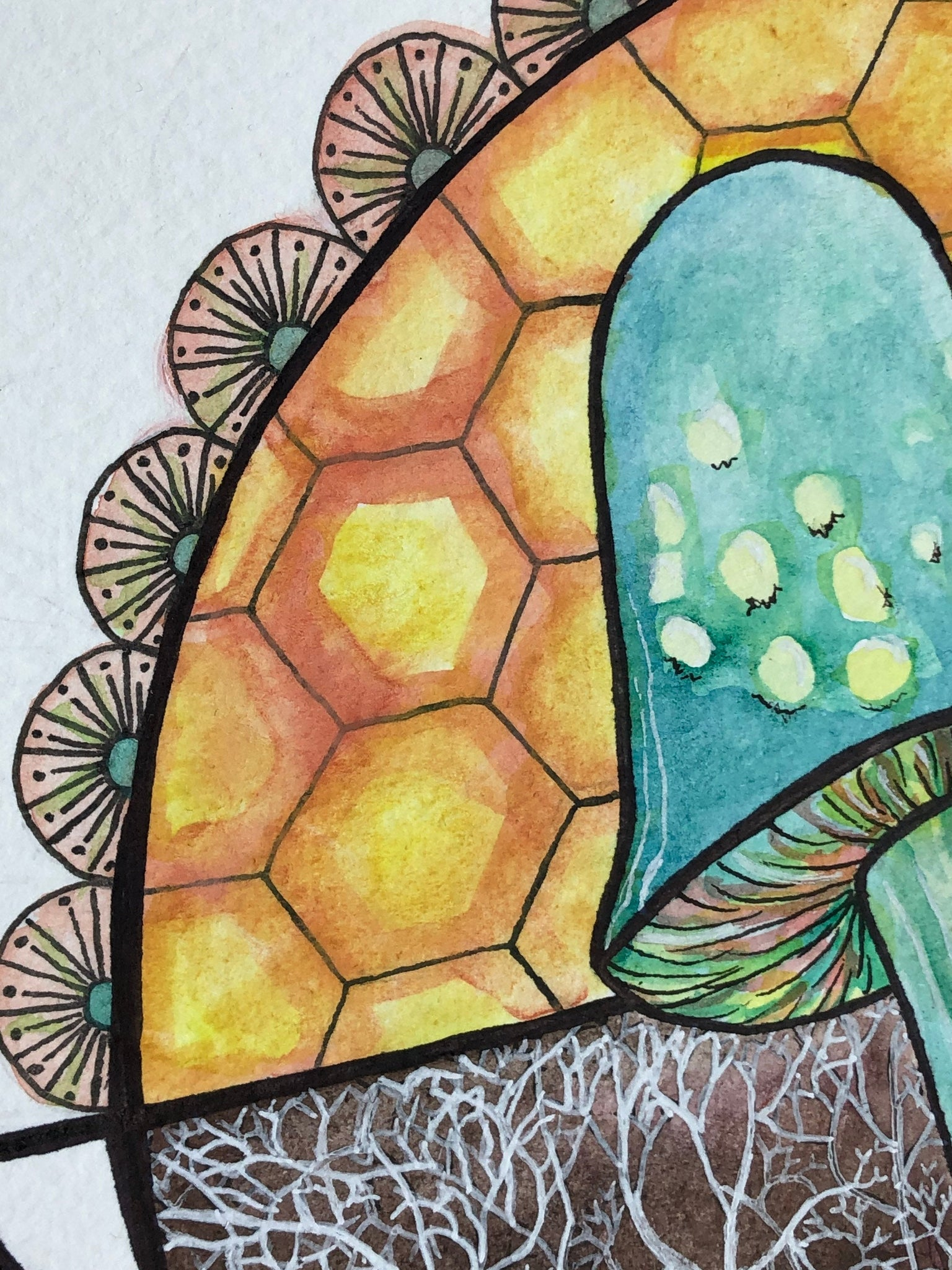 Bees Need Mycelium / Original Painting by Heather Stone / Watercolor on Paper / Ink / Colorful Art / Crystal Mushroom Artwork Moon Decor