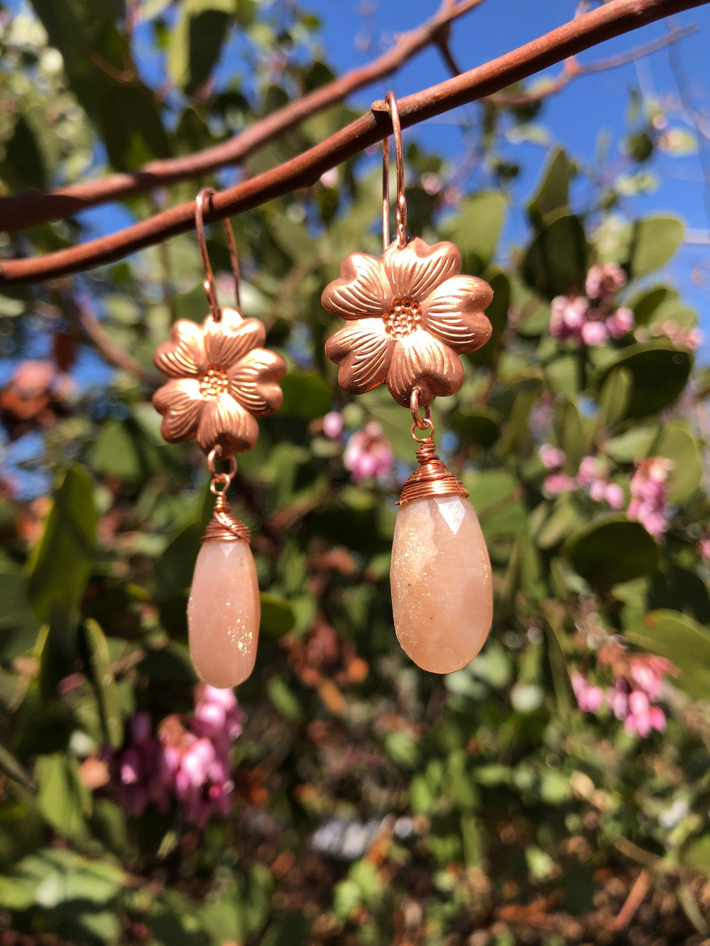 Made to Order Peach Moonstone Copper Flower Earrings / Vintage Copper Flowers / Faceted Peach Moonstone Teardrops / Copper Wire Wrapped
