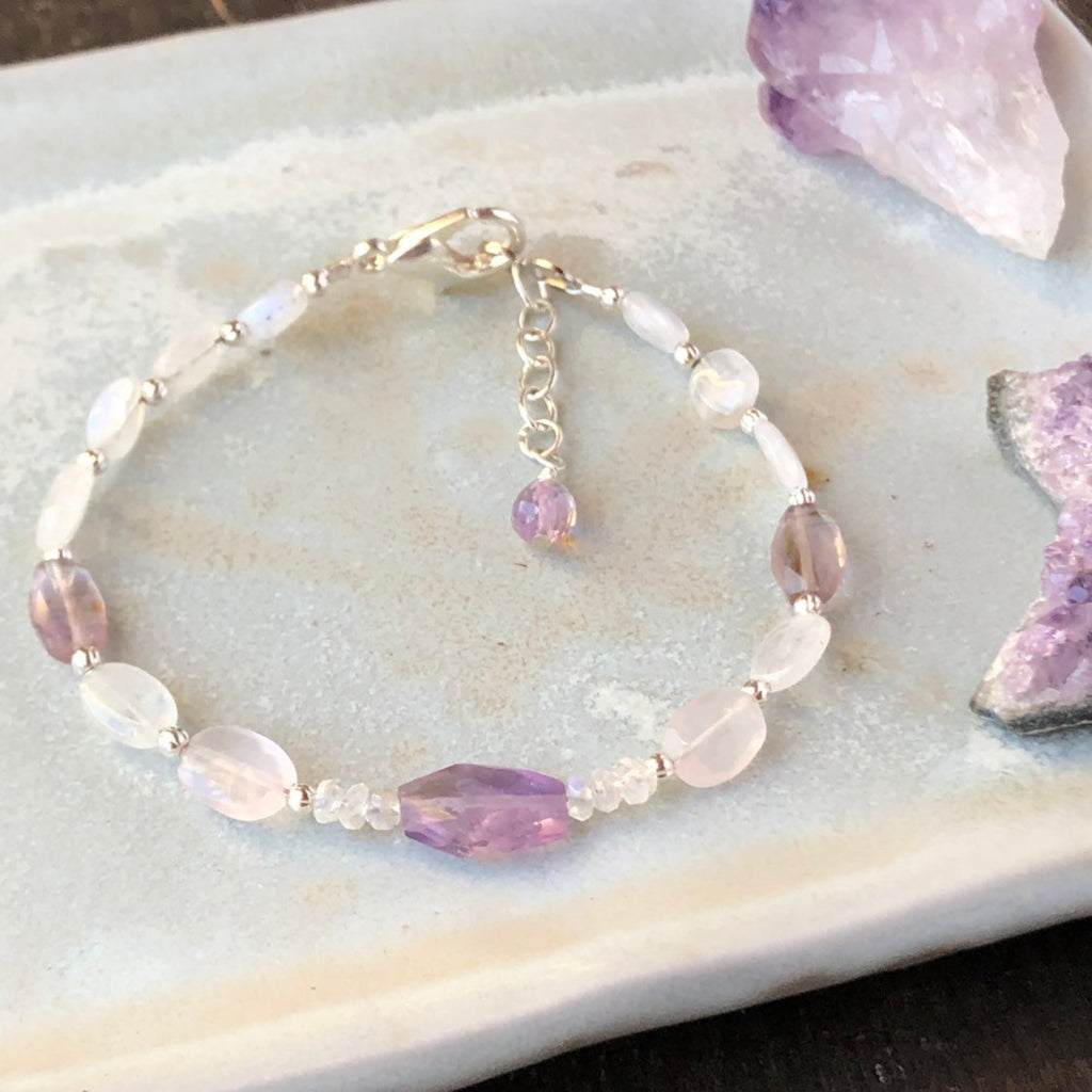 Amethyst Bracelet / Moonstone Beaded Bracelet / Natural Purple Gemstone Bracelet / Sterling Silver Rose Quartz / Amethyst Jewelry Adjustable