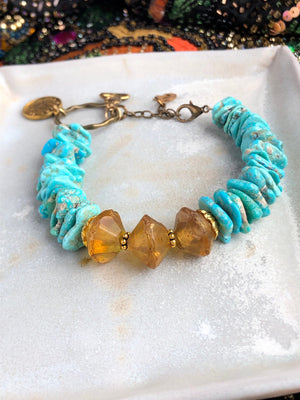 Amber Turquoise Bracelet / Vintage Baltic Amber / Vintage Recycled Genuine Turquoise Adjustable Moon Charm Buddha / December Birthstone