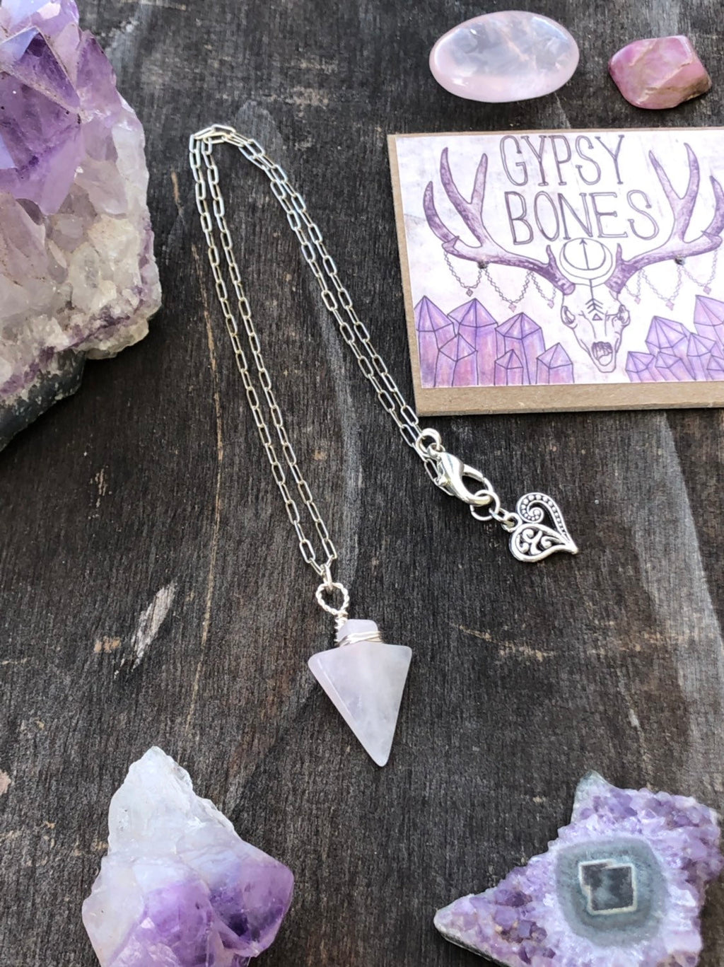Rose Quartz Arrow Necklace / Sterling Silver / Dainty Chain / Gemstone Necklace / Rose Quartz / Natural Pink Gemstone / Heart Charm