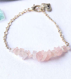 Rose Quartz Bracelet / Gemstone Stack / Sterling Silver Recycled Vintage Chain Heart Charm / Love Crystal Healing Pink Natural Stone Jewelry