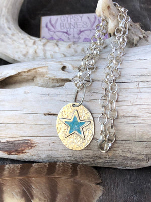 Western Star Necklace / Chain Turquoise Star / Sterling Silver Large Link Chain / Hammered Star / Vintage Gypsy Soul Pendant / Western Style
