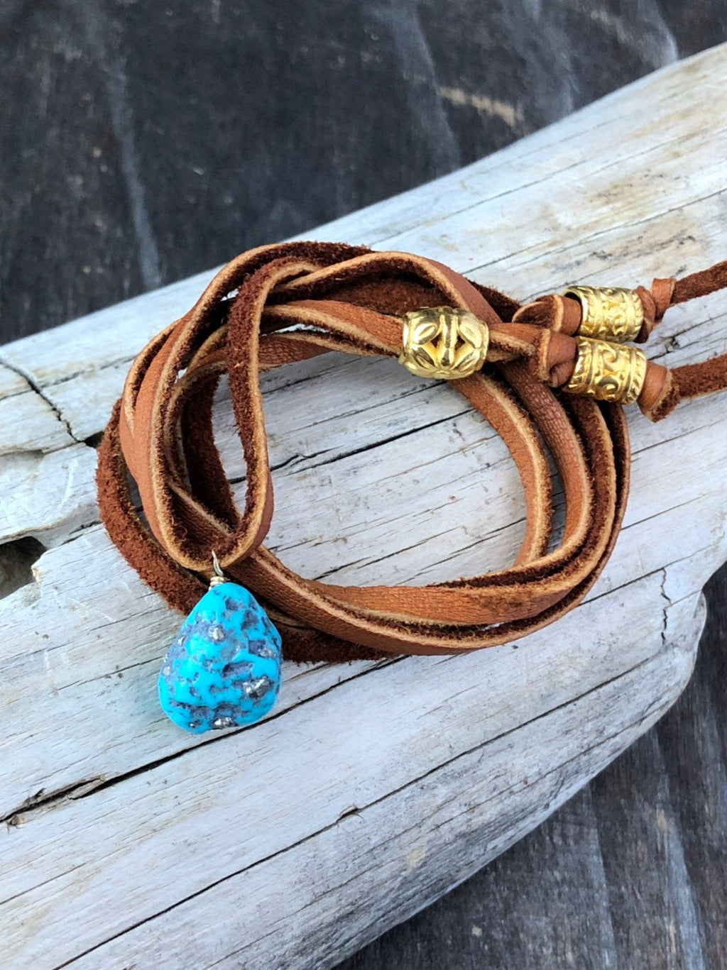 Turquoise Leather Wrap Bracelet Necklace / Convertible Versatile Jewelry / Boho Leather Necklace / Genuine Turquoise / Boho Wrap Bracelet