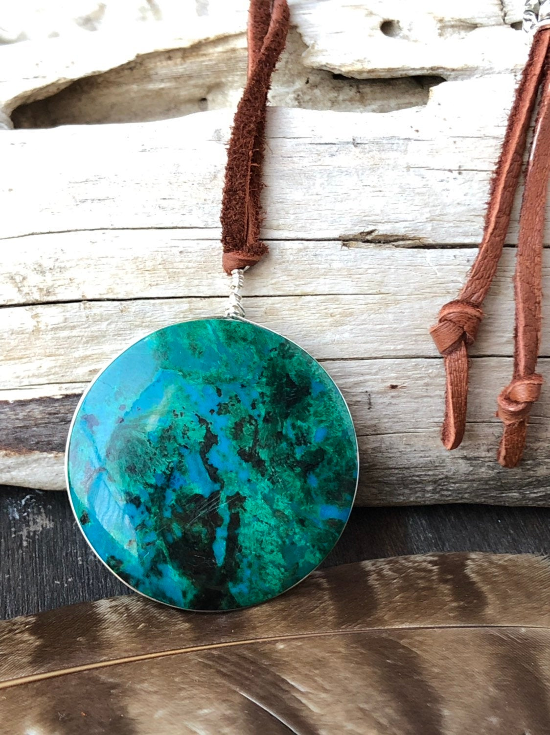 Chrysocolla Layering Necklace / Long Adjustable Necklace / Natural Stone Necklace / Chrysocolla Pendant Earthy Jewelry Leather
