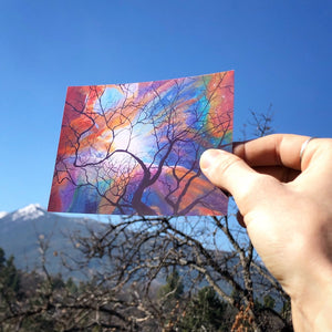Sticker Space Tree Art / Orion's Nebula Painting Space / Tree Silhouette / Colorful Art Stickers / Psychedelic Art Visionary Art