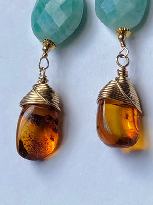 Amazonite Amber Earrings / 14k Gold Filled / Wire Wrapped / Vintage Baltic Amber / Faceted Amazonite Earrings / AAA Quality Gemstones