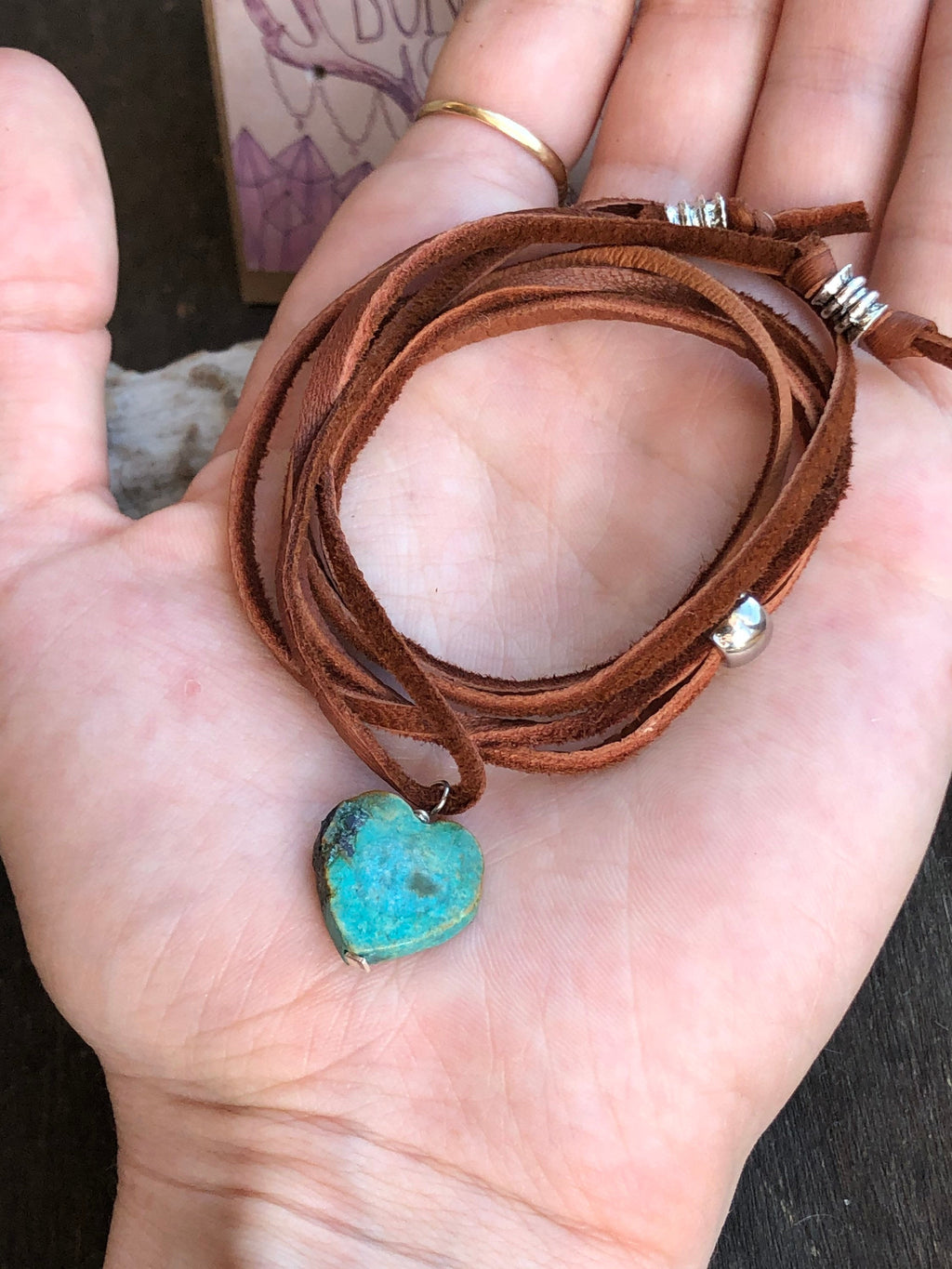 Made to Order Vintage Turquoise Heart Leather Wrap Necklace Bracelet Convertible Versatile Adjustable Deerskin Heart Necklace