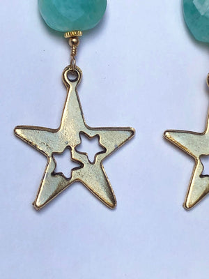 Amazonite Vintage Star Earrings / Vintage Brass Star Cutouts / Faceted AAA Quality Amazonite Stones / 14k Gold Filled / Celestial Star