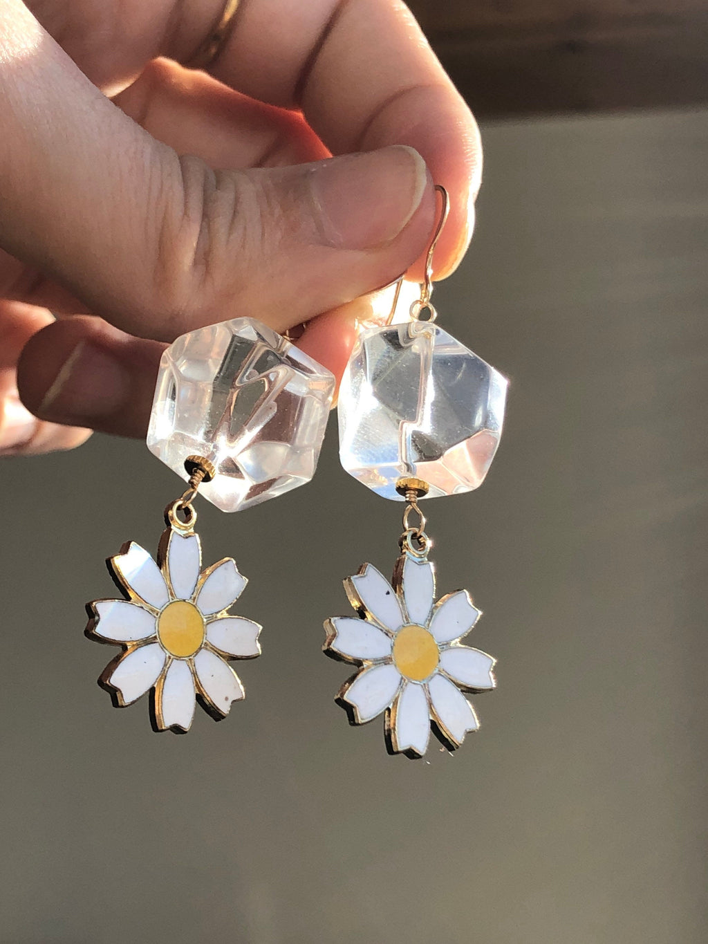 April Birthday Earrings / Daisy April Birth Flower Earrings /  Faceted Clear Quartz April Birthstone / Vintage Brass Enameled Daisy Charms