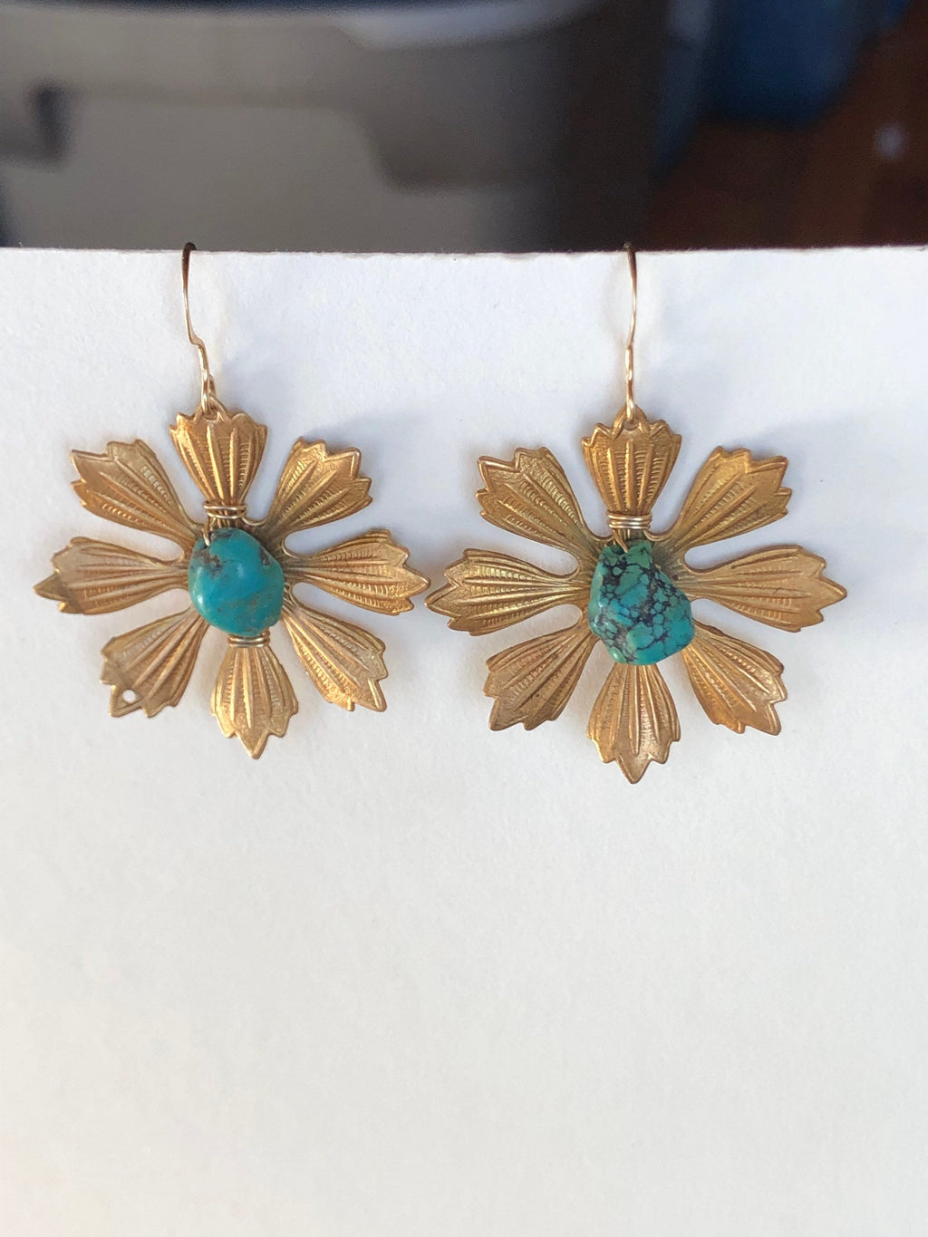 Turquoise Daisy Earrings / Vintage Brass Stampings / Upcycled Vintage Turquoise Genuine / 14k Gold Filled / April Birth Flower Jewelry Daisy