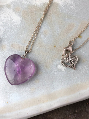 Amethyst Heart Necklace / Natural Purple Gemstone Heart / Amethyst Heart Pendant / February Birthstone / Dainty Chain Sterling Silver