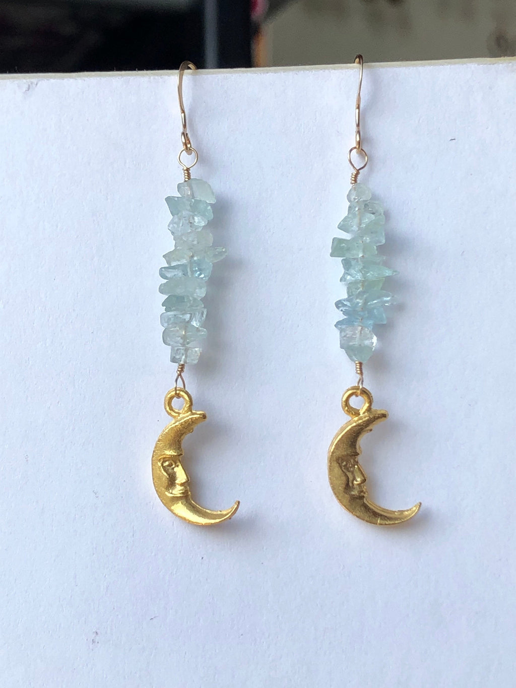 Aquamarine Moon Earrings / Gemstone Stack / March Birthstone / Vintage Moon Charms / Crescent Moon Jewelry / Pisces Aquamarine / 14k Gold
