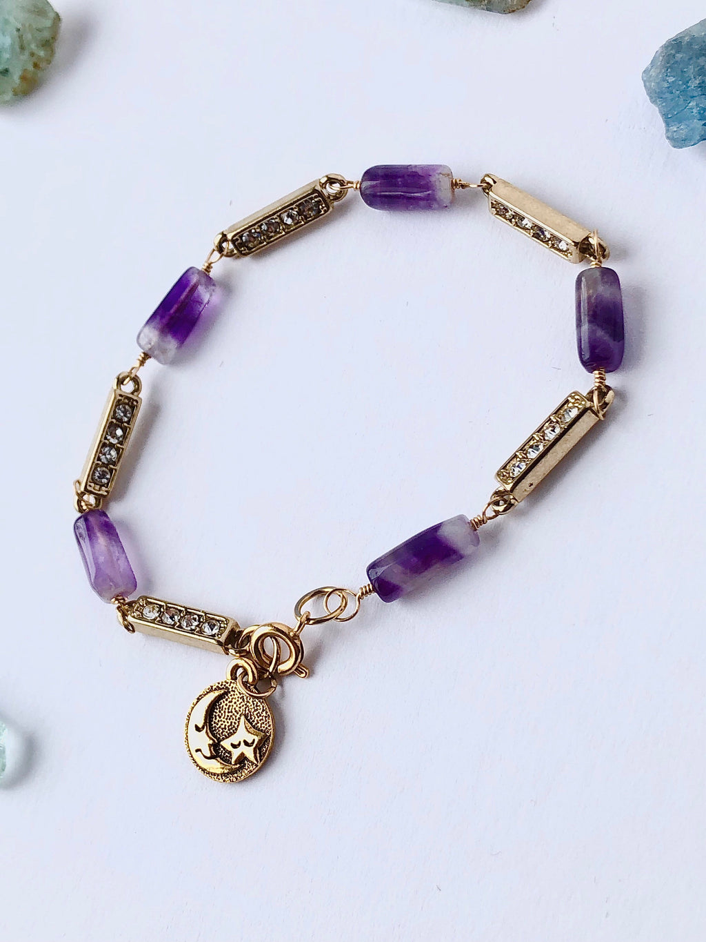 Amethyst Gold Celestial Bracelet / 14k Gold Filled Wire / Recycled Gemstones / Vintage Amethyst / Vintage Rhinestone Brass / Sun Moon Charm