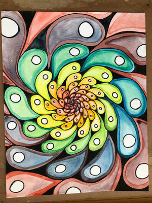 Rainbow Original Painting by Heather Stone / Original Art / Watercolor and Ink on Paper / Trippy Spiral / Colorful Art Psychedelic Rainbow