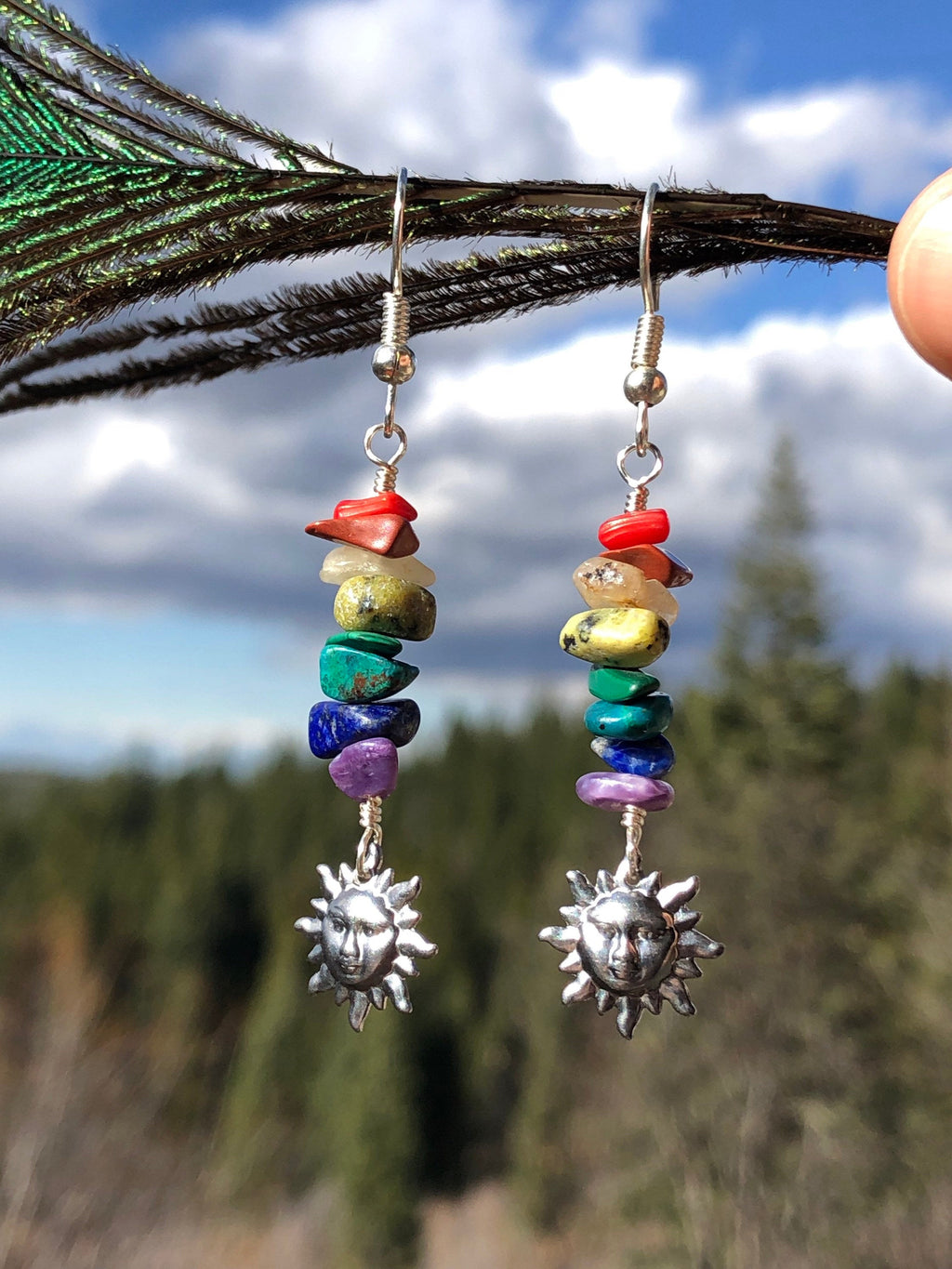 Rainbow Gemstone Earrings / Vintage Sun Charms / Natural Gemstone Stack / Colorful Jewelry / Rainbow Earrings / Celestial Jewelry
