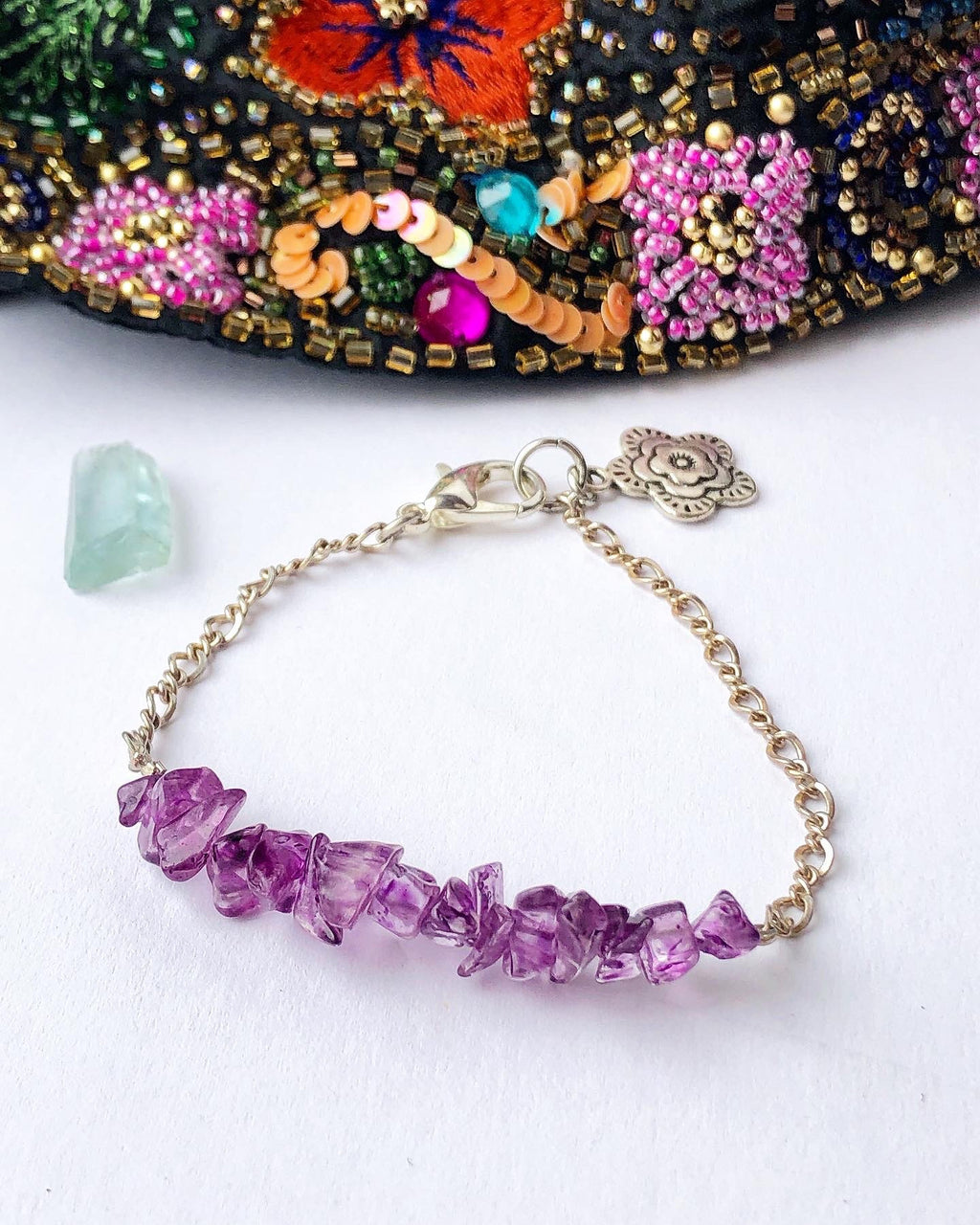 Amethyst Chain Bracelet Dainty Sterling Silver / Vintage Recycled Gemstones and Chain / Flower Charm / Vintage Amethyst Jewelry Birthstone