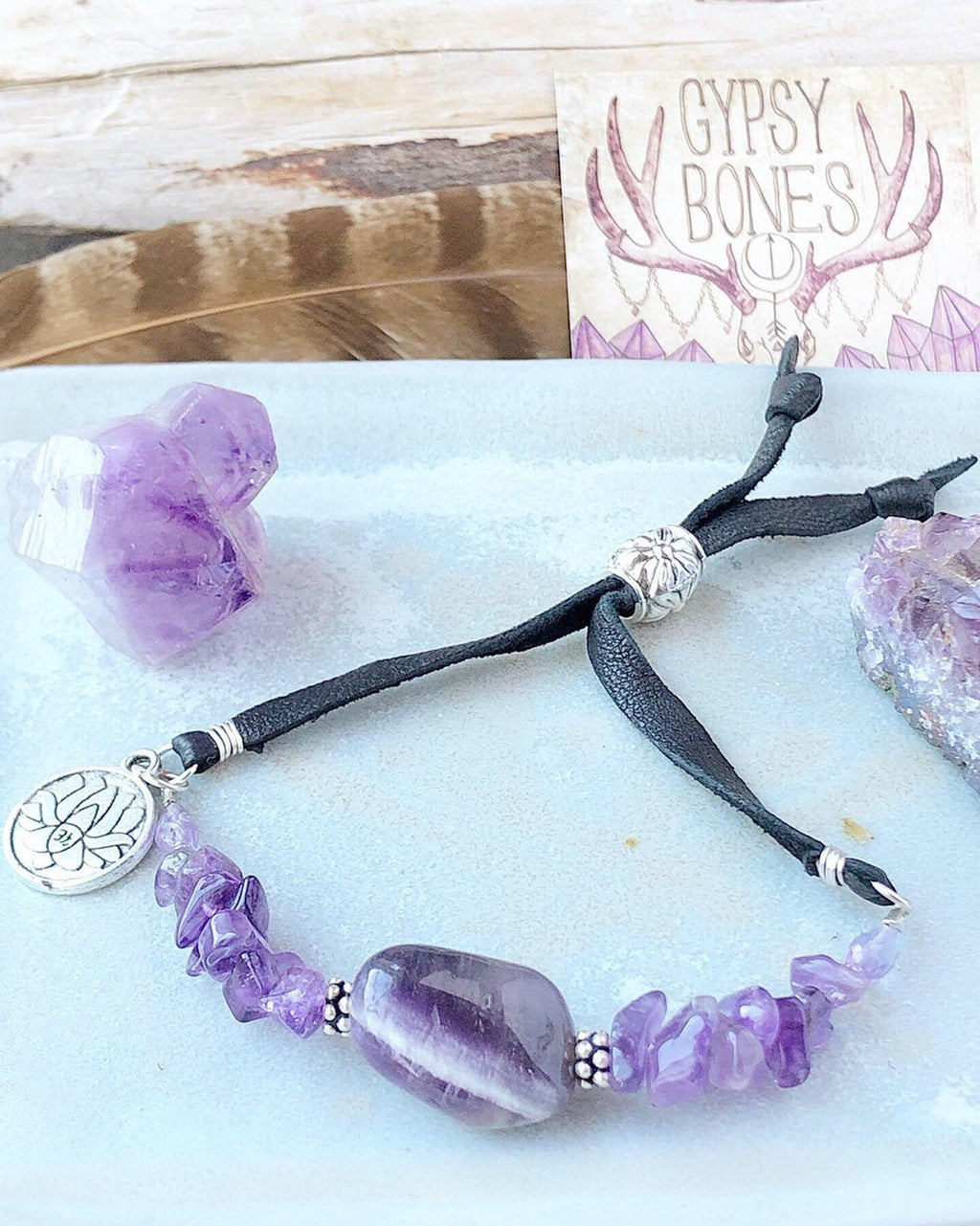 Amethyst Bracelet / Black Deerskin Leather / Adjustable Sliding Bead / Lotus Charm / Sterling Silver / Amethyst Jewelry February