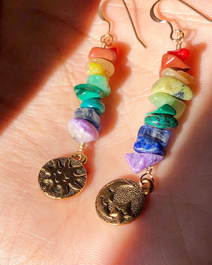 Made to Order Rainbow Gemstone Earrings / Vintage Charms Sun Moon Stars Double Sided / Natural Gemstone Stack / Colorful Jewelry