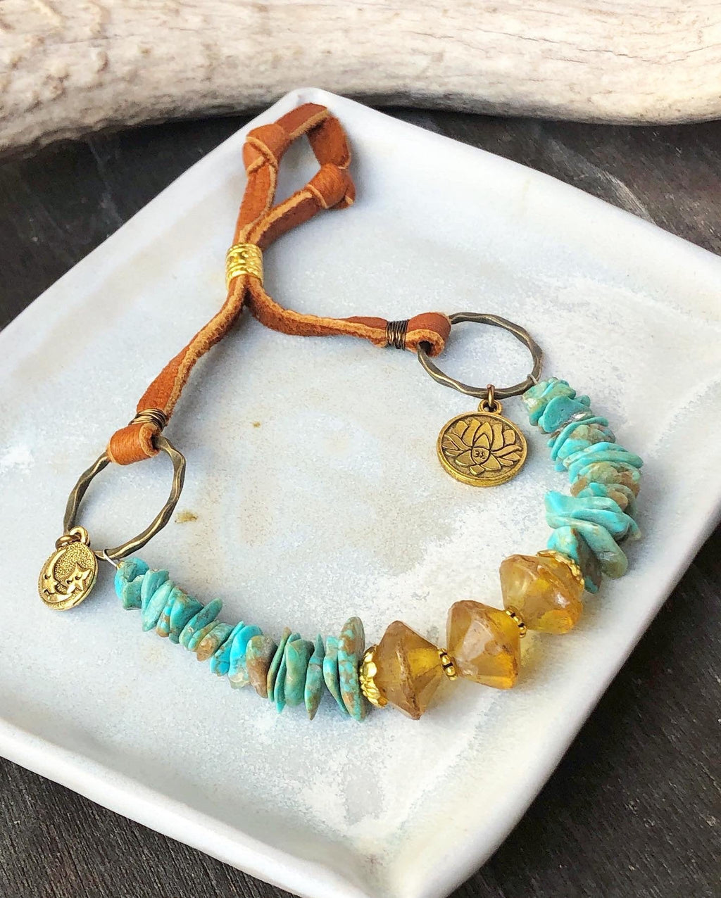 Amber Turquoise Bracelet / Vintage Baltic Amber / Vintage Recycled Genuine Turquoise / Brown Deerskin Leather Adjustable / Moon Charm Buddha