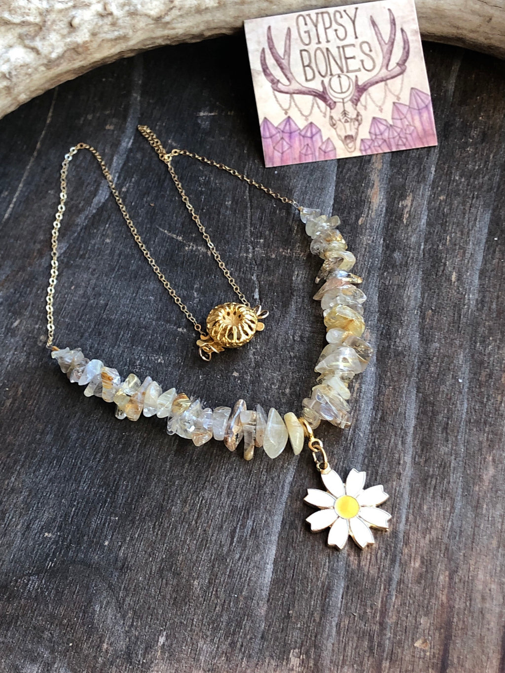 Daisy Necklace / Gold Rutilated Quartz Gemstone Chips Stack Necklace 14k Hold Filled Chain / Vintage Daisy Pendant Detachable / Versatile
