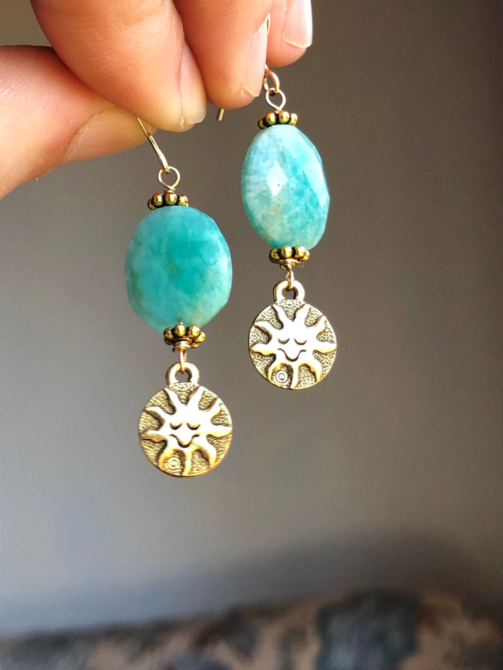 Amazonite Sun Earrings / Celestial Vintage Charms / Brass Sun Moon Jewelry / AAA Quality Amazonite Natural Faceted Gemstone 14k Gold Filled