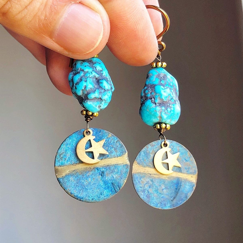 Turquoise Moon Earrings / Genuine Turquoise Nuggets Raw Stone Earrings Celestial Moon Jewelry Star Charms Vintage Upcycled Hypoallergenic