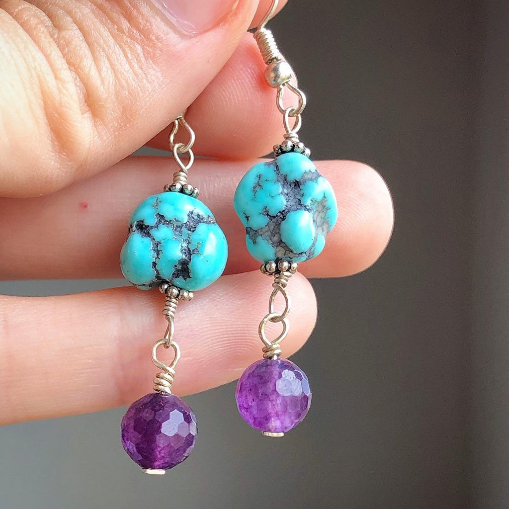 Turquoise Amethyst Earrings / Genuine Turquoise Raw Nugget Campitos / Upcycled Vintage Amethyst Faceted Gemstone / Dangle Earrings Silver