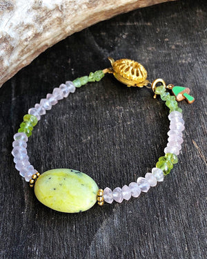 Serpentine Bracelet / Neon Green Stone Jewelry / Rose Quartz / Peridot / Upcycled Vintage Gemstones / Pink Green Spring Jewelry Mushroom