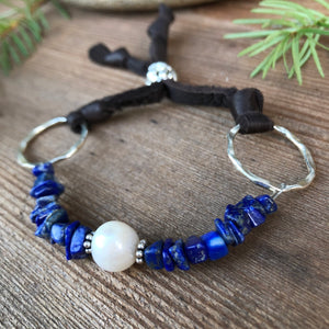 Lapis Lazuli Pearl Leather Bracelet Adjustable Brown Deerskin Leather Natural Blue Gemstone Stack
