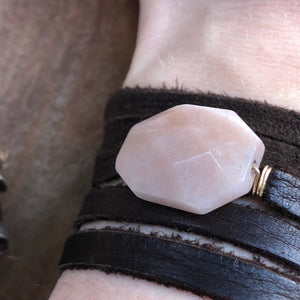 Peach Moonstone Leather Wrap Bracelet Brown Adjustable Deerskin Leather Wrap Necklace 14k Gold