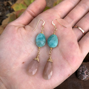 Peach Moonstone Amazonite Earrings 14k Gold Filled Wire Wrapped Faceted Pink Gemstone Teardrops
