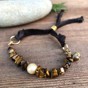 Tiger's Eye Pearl Leather Bracelet 24k Gold Plated Rings Sliding Bead Adjustable Freshwater Pearl