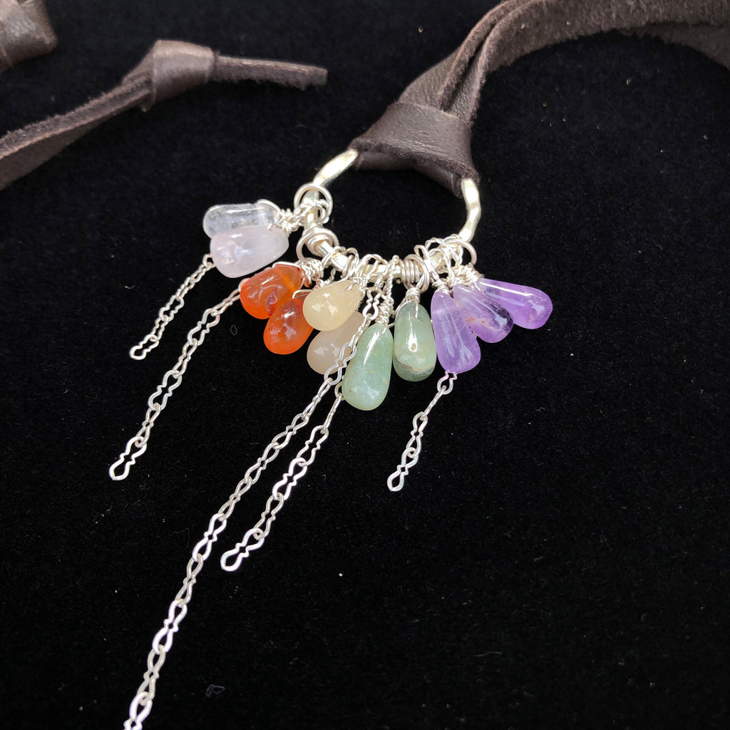 Gemstone Rainbow Charm Tassel Pendant Necklace Leather Adjustable Deerskin Sterling Silver Chain