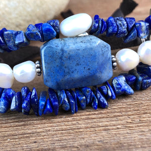 Lapis Lazuli Pearl Multi Strand Bracelet Adjustable Deerskin Leather Sterling Silver Charms Feather