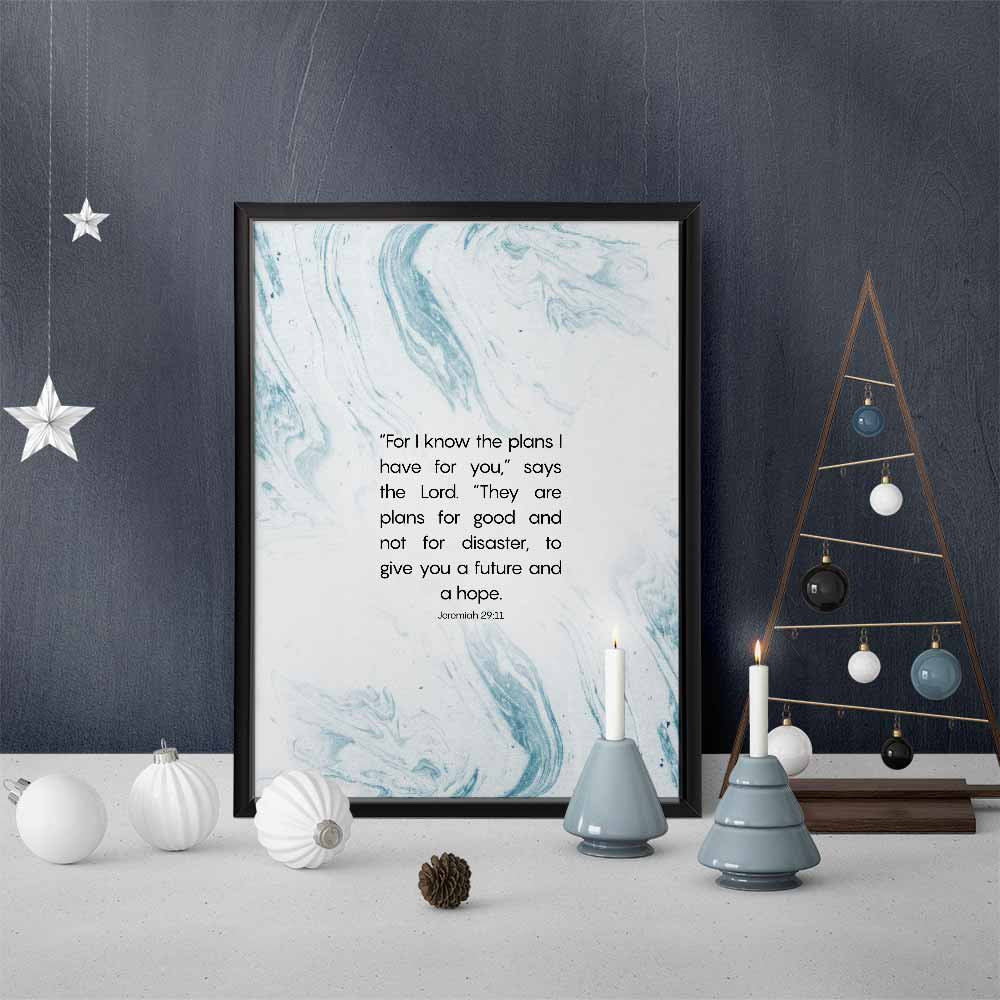 Inspirational Wall Art and Christmas decorations blue palette