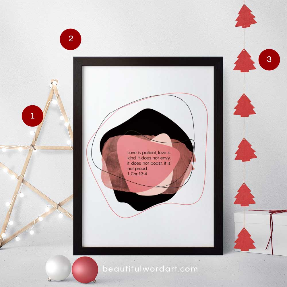 Inspirational Wall Art and Christmas decorations red and white