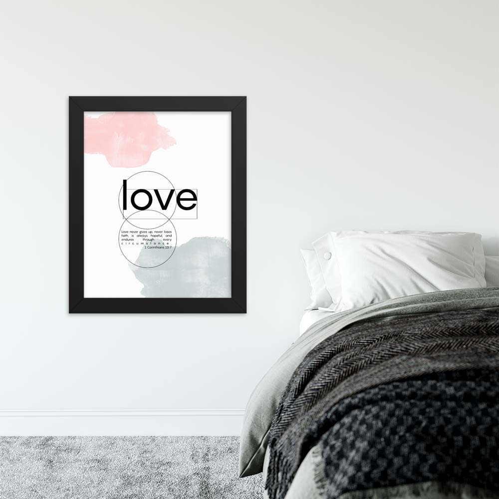 Love modern scripture quote framed poster