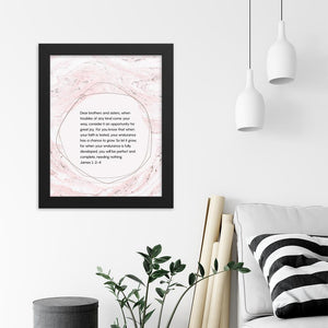 Encouraging Bible verse James 1: 2-4 framed poster
