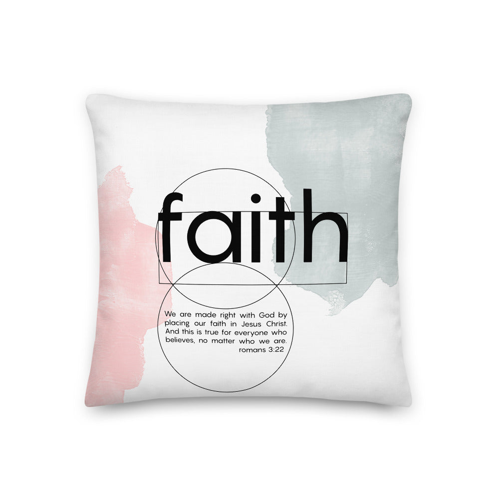 Faith quote - Romans 3:22 Modern Scripture Pillow