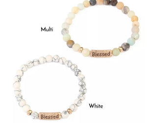 Inspirational Natural Stone Bracelet Engraved Charm