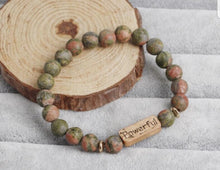 Load image into Gallery viewer, Inspirational Natural Stone Bracelet Engraved Charm