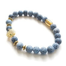 Load image into Gallery viewer, Calming Blue Agate and Royal Panther Bracelet