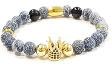 Load image into Gallery viewer, Royal Crown Blue Agate Stone Bracelet