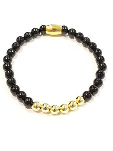 Black and Gold Onyx Bead Bracelet