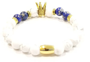 Aggie Blue and Gold Howlite Crown Bracelet