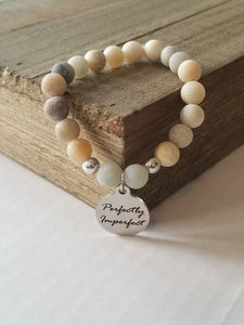Natural Stone Themed Engraved Charm Bracelet