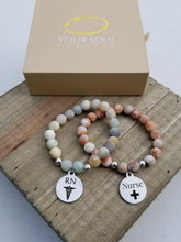 Load image into Gallery viewer, Natural Stone Themed Engraved Charm Bracelet
