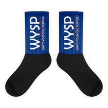 Load image into Gallery viewer, WYSP - What's Your Soul Purpose? - Bold - White - Blue & Black Foot Sublimated Socks